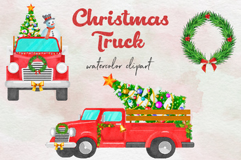 Christmas Truck Clipart, Watercolor Red Truck, Watercolor Christmas Clipart.