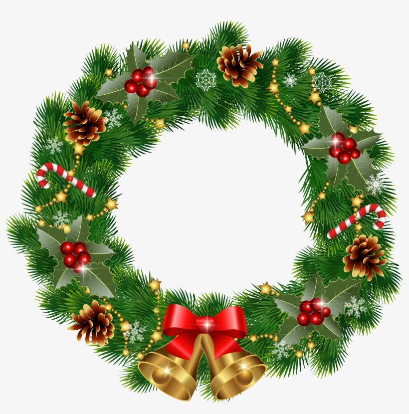Christmas Wreath With Bells Png Clipart Image.