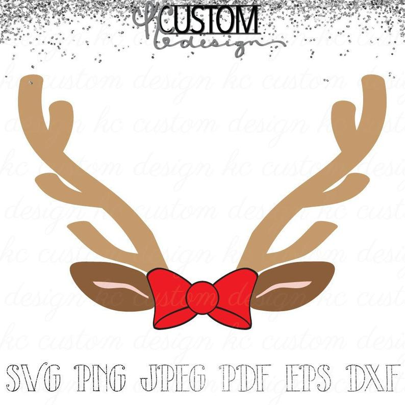 Reindeer Antlers and Bow SVG.