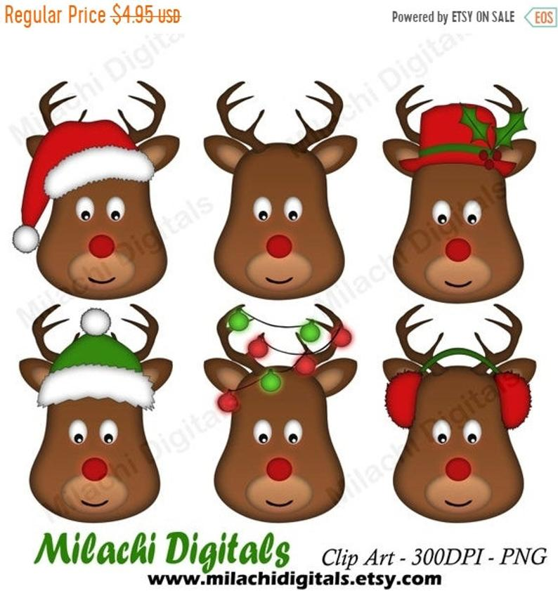 70% OFF SALE Christmas reindeer clipart, reindeer head clipart, holiday  clip art, commercial use, instant download.