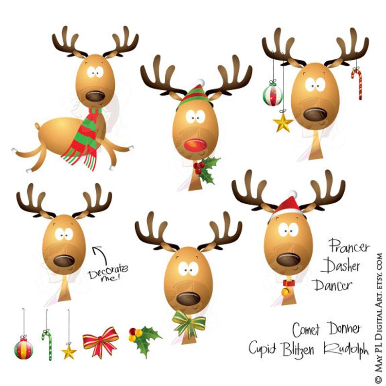 Christmas Reindeer Clipart Rudolph Red Nosed Reindeer School Teacher  Supplies Scrapbook Graphics Cute Clip Art Xmas Decoration 10418.