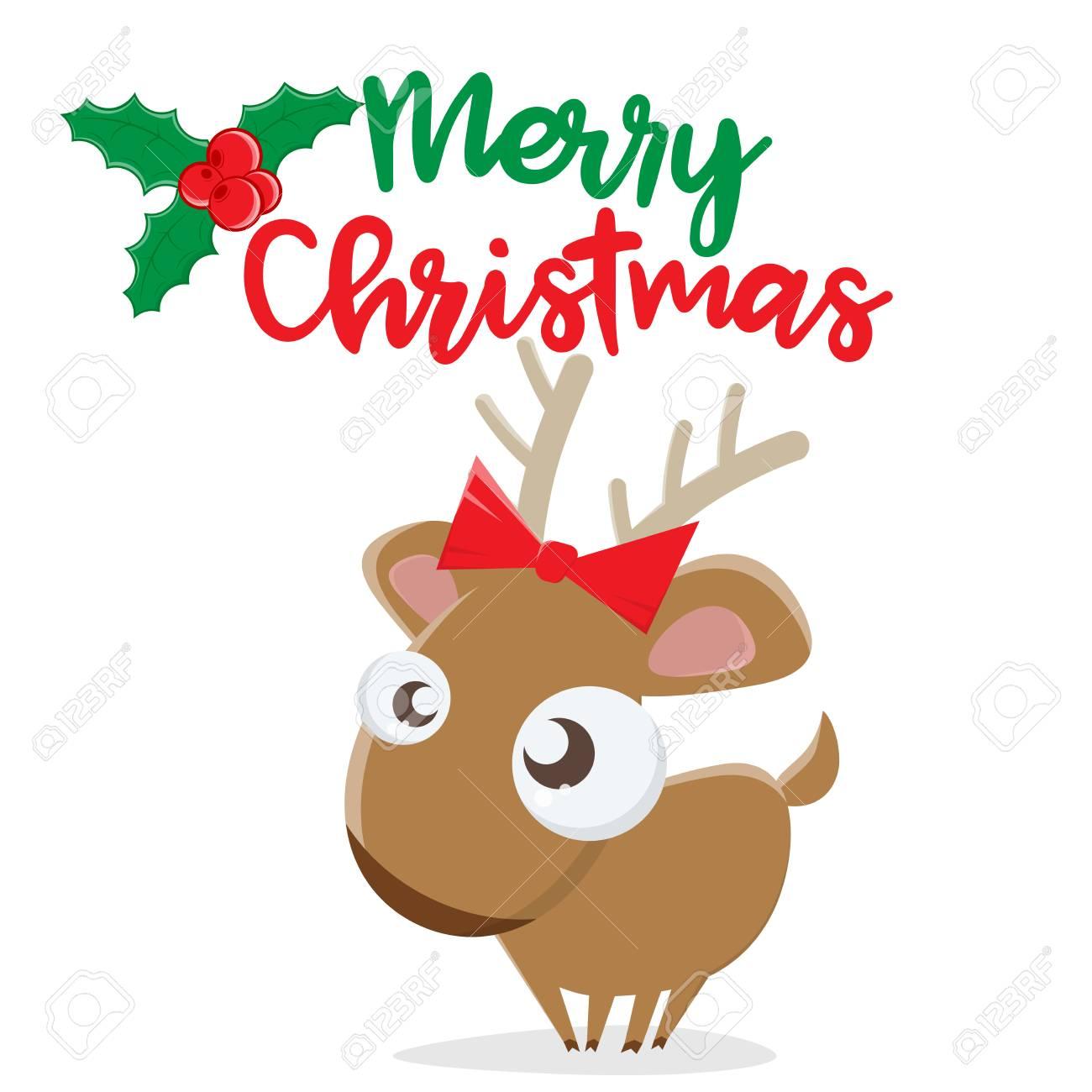 Merry Christmas reindeer clip art vector illustration..