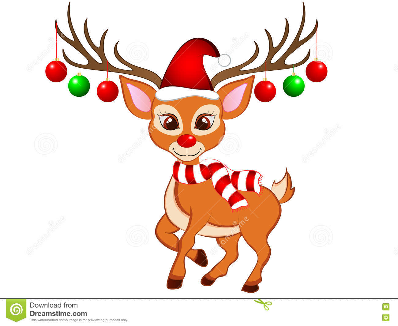Cartoon Christmas Reindeer stock image. Illustration of reindeer.
