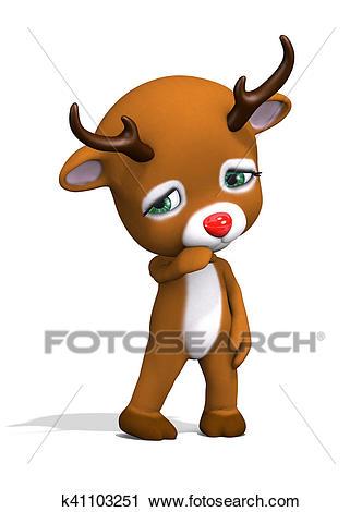 Sad Baby Christmas Reindeer Clip Art.