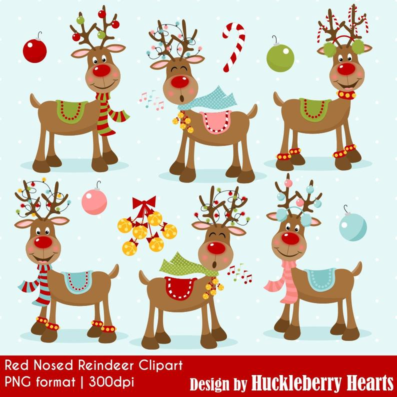 Reindeer Clipart, Christmas Clipart, Rudolph, Red Nosed Reindeer,  Printable, Commercial Use.