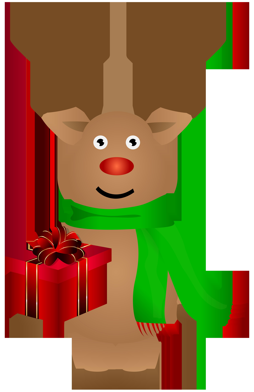 Cute Christmas Reindeer PNG Clip Art Image.