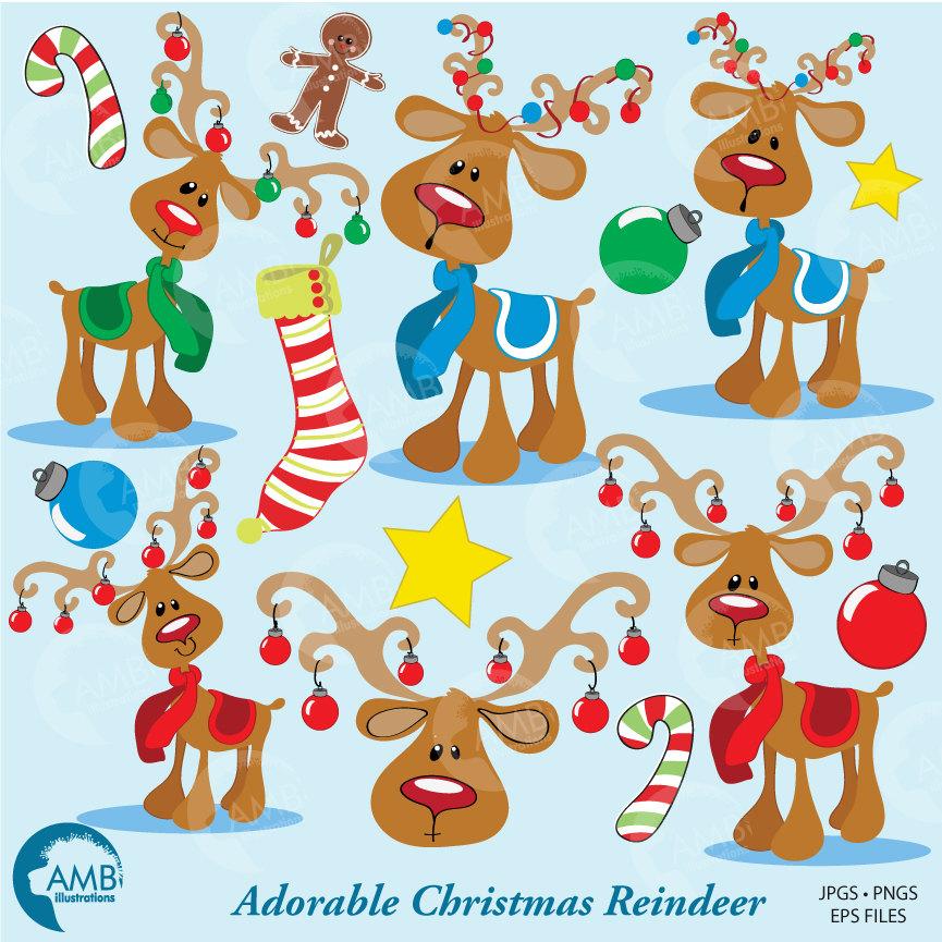 Christmas Clipart, Reindeer Clipart, Santa's Reindeer, Rudolph Clipart,  Christmas Ornament Clipart, AMB.