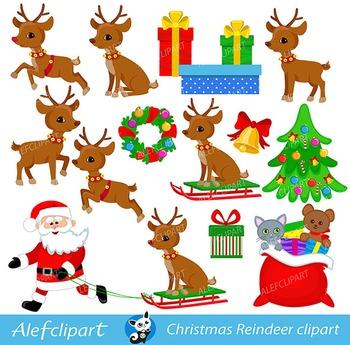 Christmas Reindeer, Rudolf Reindeer, Digital Clipart..