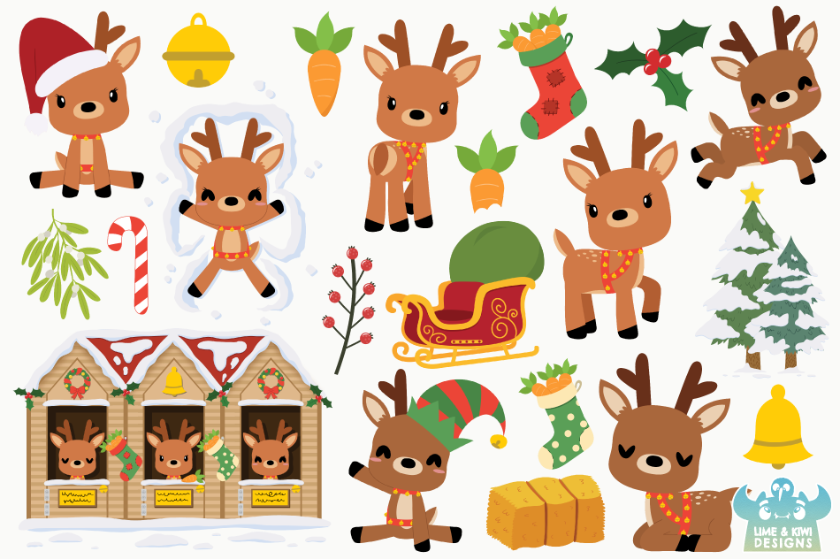 Christmas Reindeer Clipart, Instant Download Vector Art.