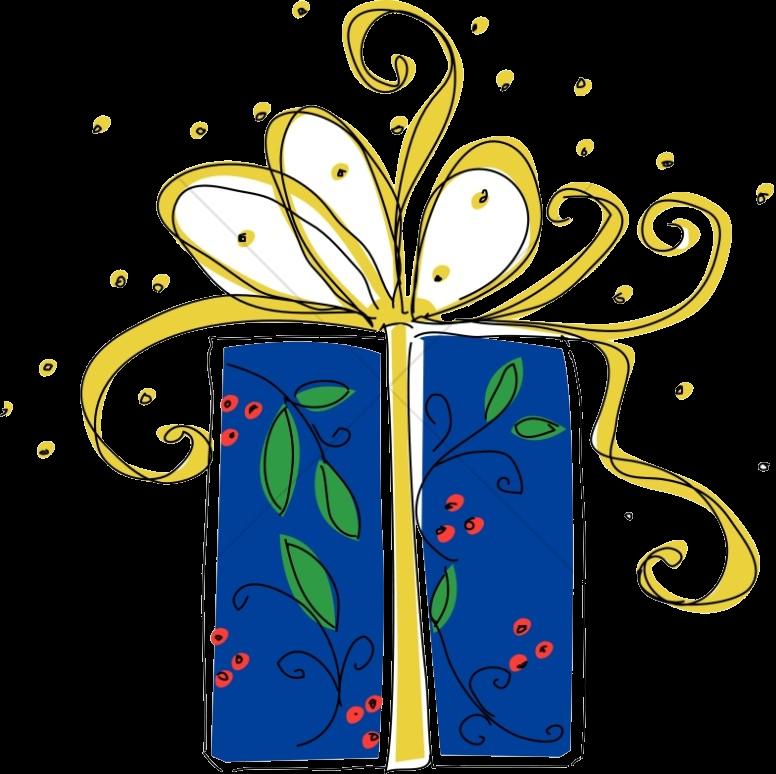 Christmas Big Blue Present Religious Clipart Transparent Png.
