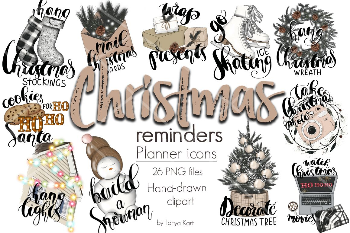 Christmas Reminders Planner Icons.