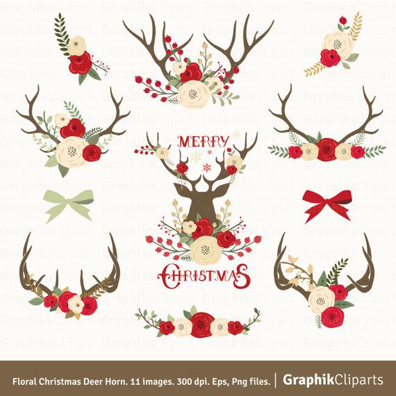 Clipart Christmas Flower On Deer.
