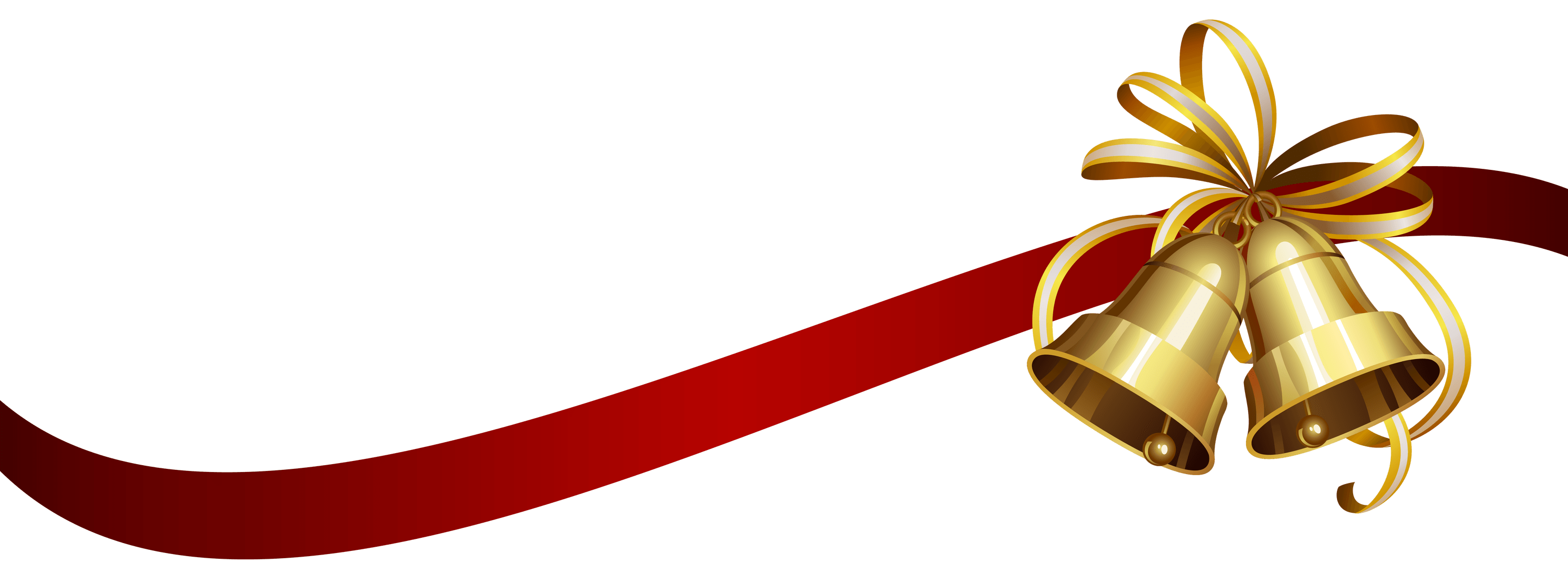 Christmas Ribbon and Bells transparent PNG.