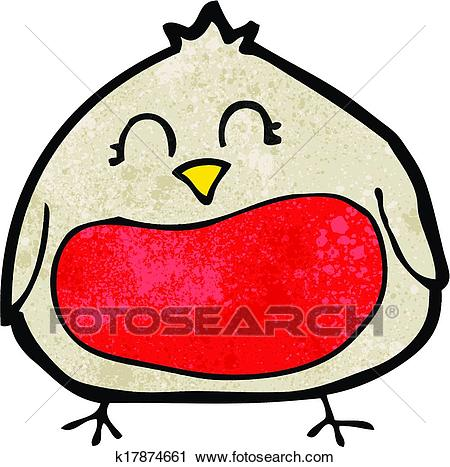 Funny cartoon christmas robin Clipart.