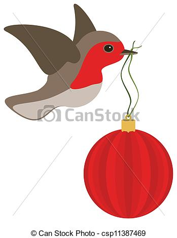 Robin and Christmas bulb.
