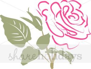 Sketched Pink Rose Clipart.