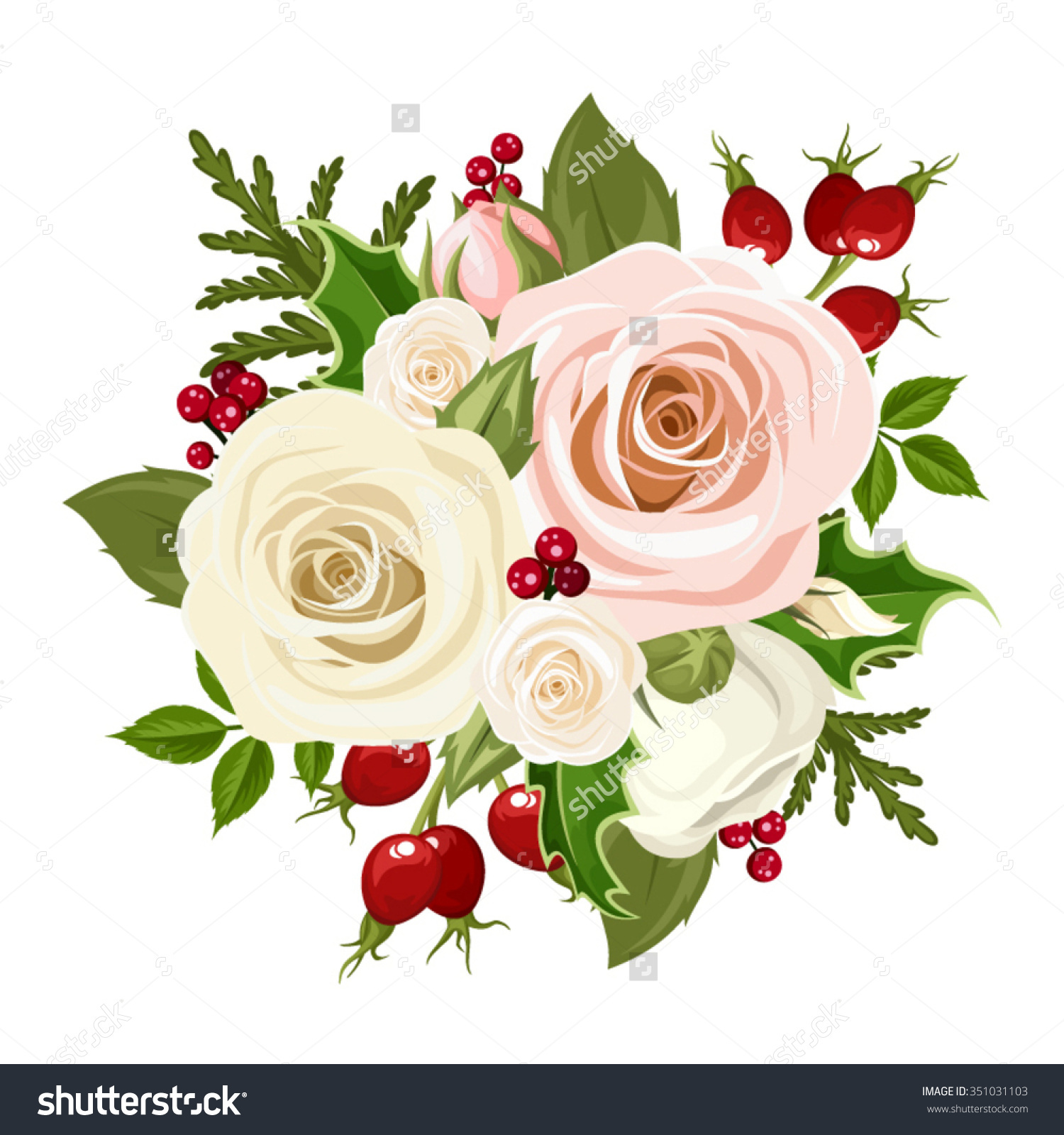 Vector Christmas Bouquet With Pink And White Roses, Rosehip.