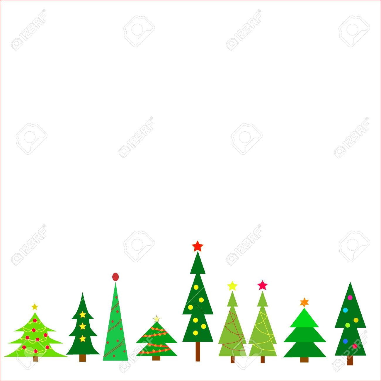 Row of different christmas trees on a white background..
