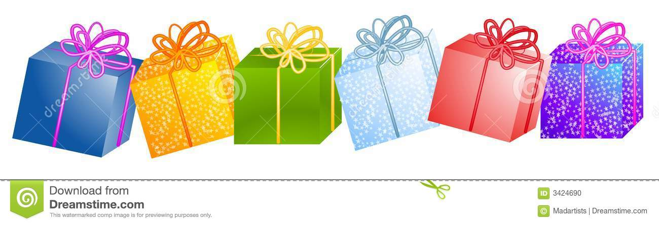 Row Of Christmas Gifts Clipart Stock Illustration.