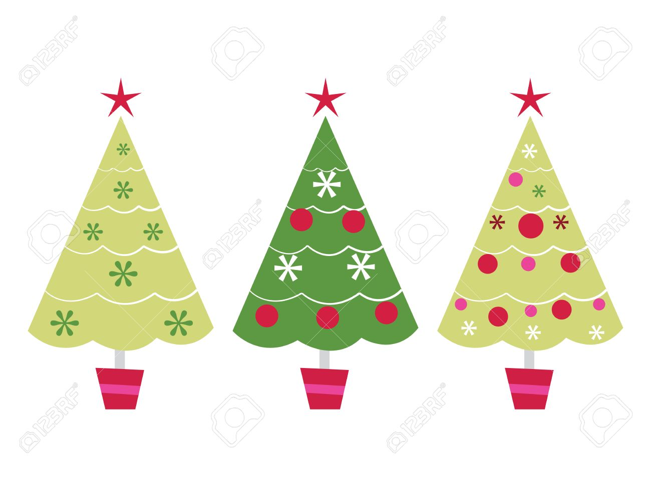 A vector illustration set of three cute christmas tree in a row..