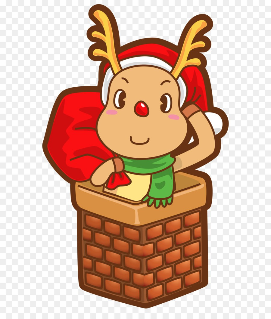 Christmas Rudolph In Chimney Transparent Png Clip Art Image.