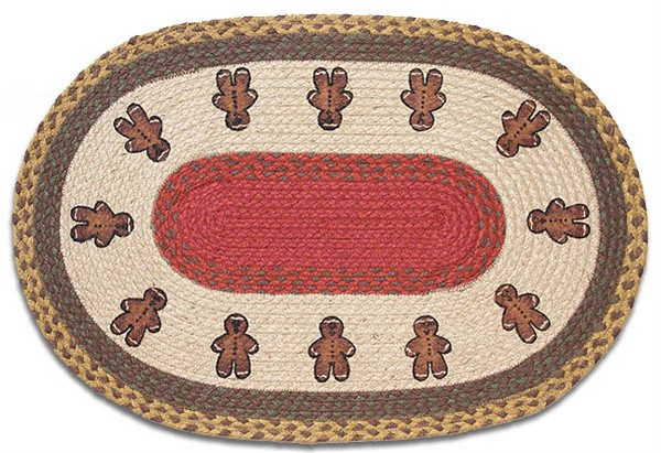 Free download Christmas Rug Gingerbread Men Rug braided oval.