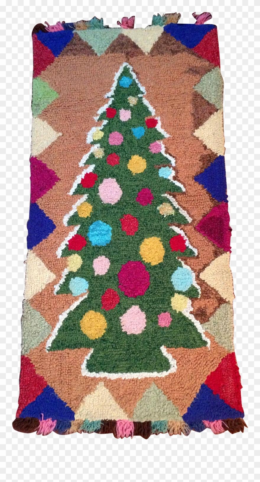 Christmas Rug Png Hooked Rug Colourful Christmas Tree.