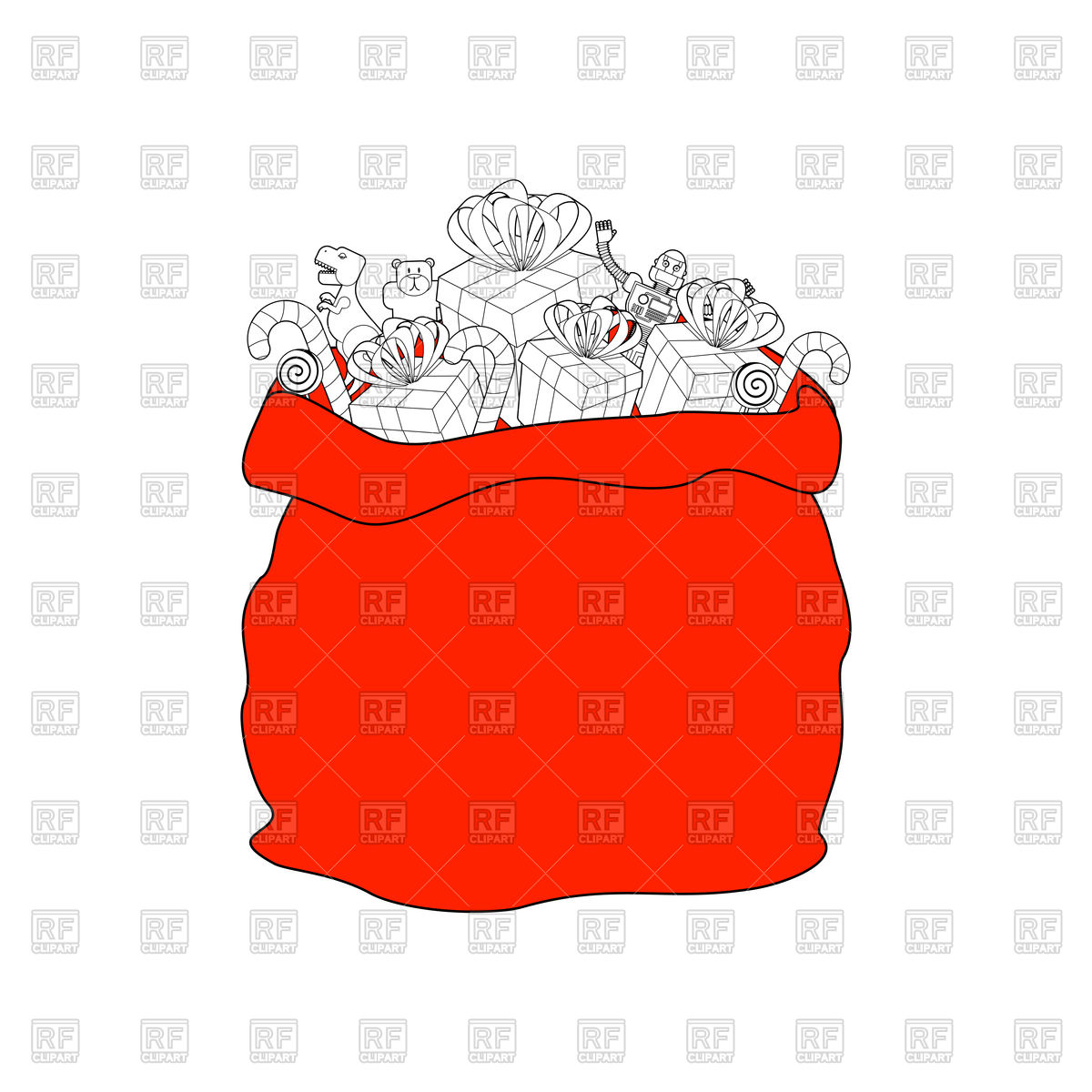 Santa bag with gift. Christmas sack. Stock Vector Image.