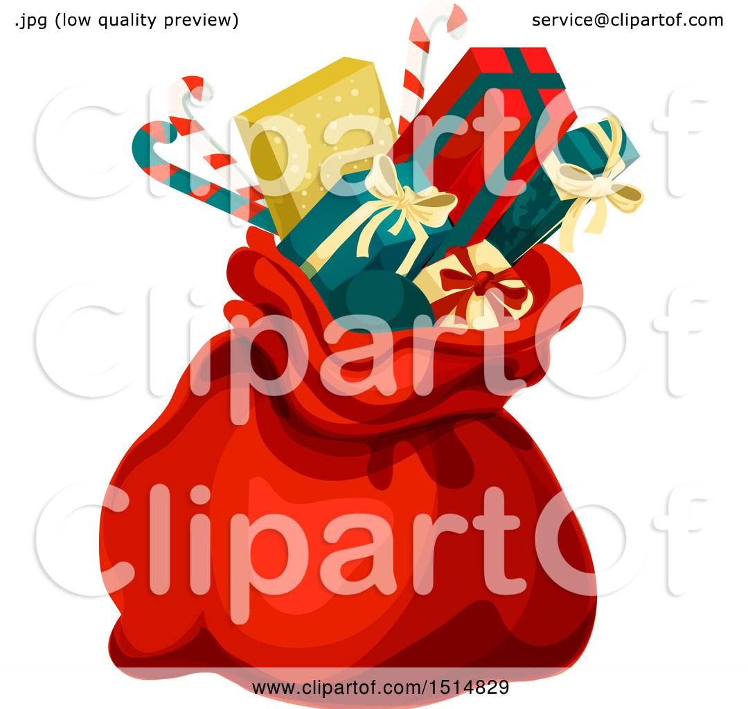 Clipart of a Christmas Sack with Gifts.