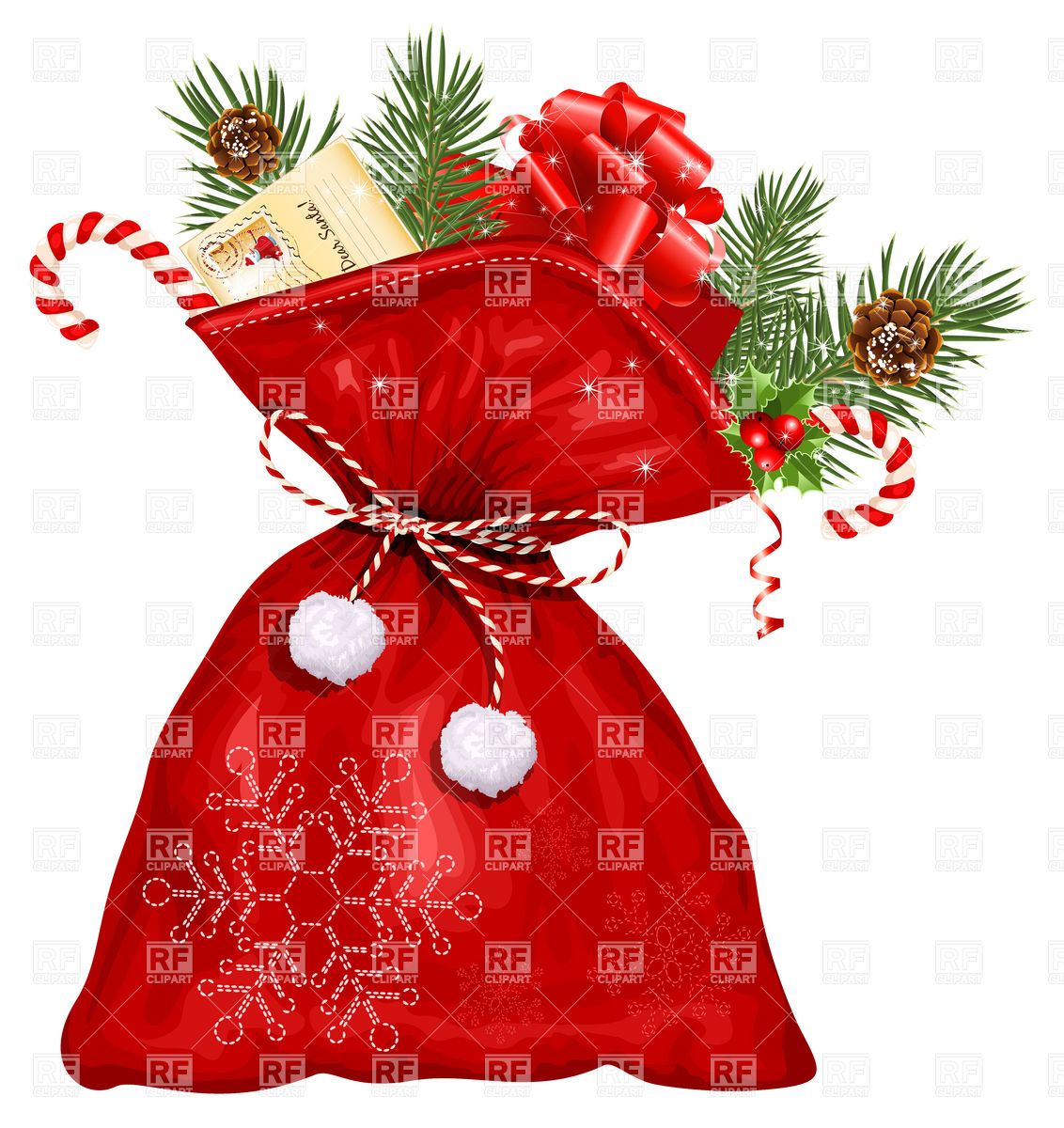 Christmas sack with presents Stock Vector Image.