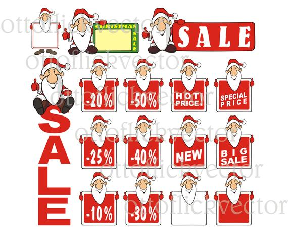 CHRISTMAS SALE CLIPART, santa claus vector clipart eps, ai, cdr, png, jpg,  christmas sale label, baner, billboard, funny cartoon santa claus.