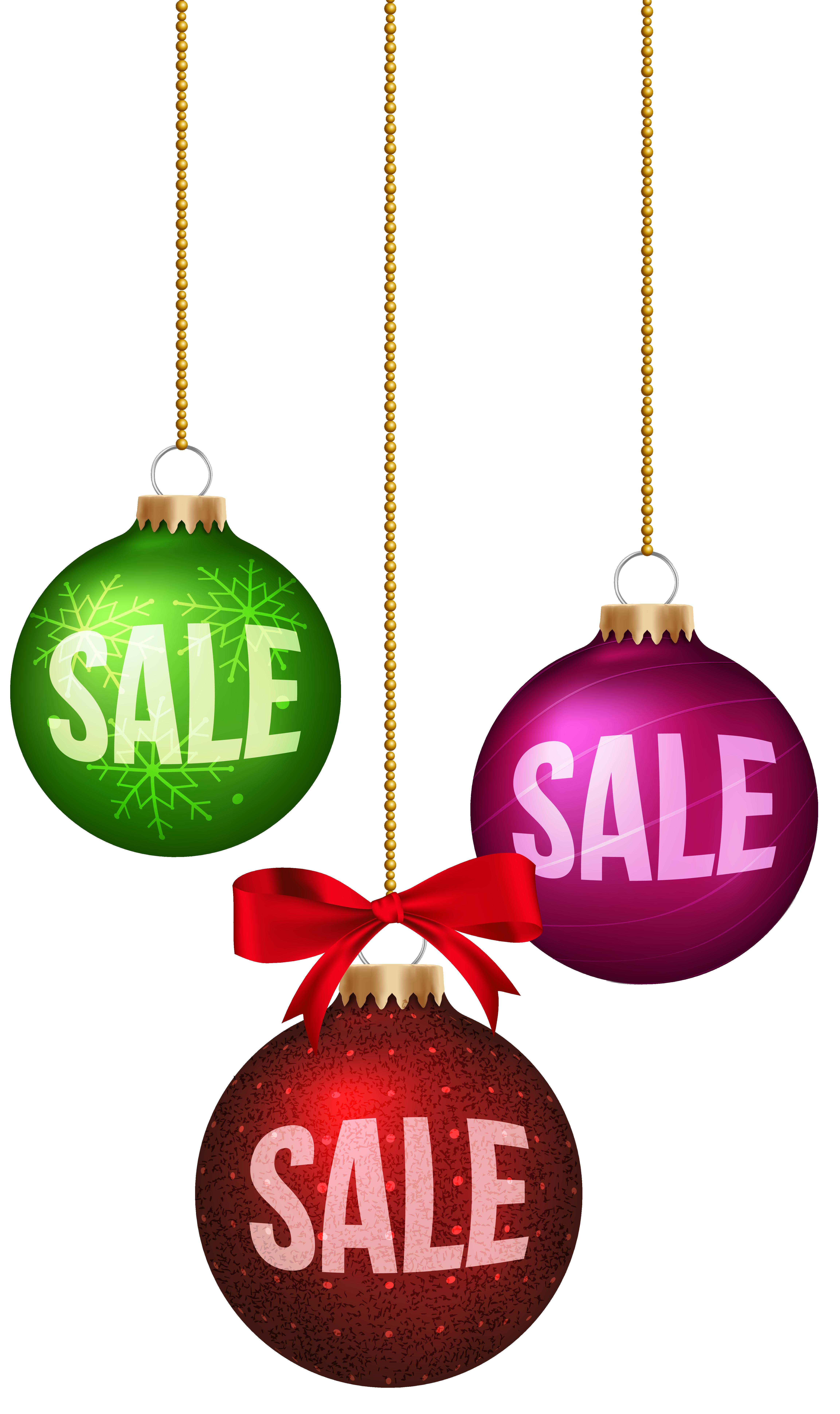 Christmas Balls Sale Decoration PNG Clip Art Image.