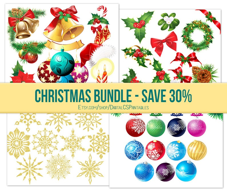 SALE Christmas clipart Holiday clipart SALE 30% off Commercial use  Christmas clip art Christmas sale clipart bundle.