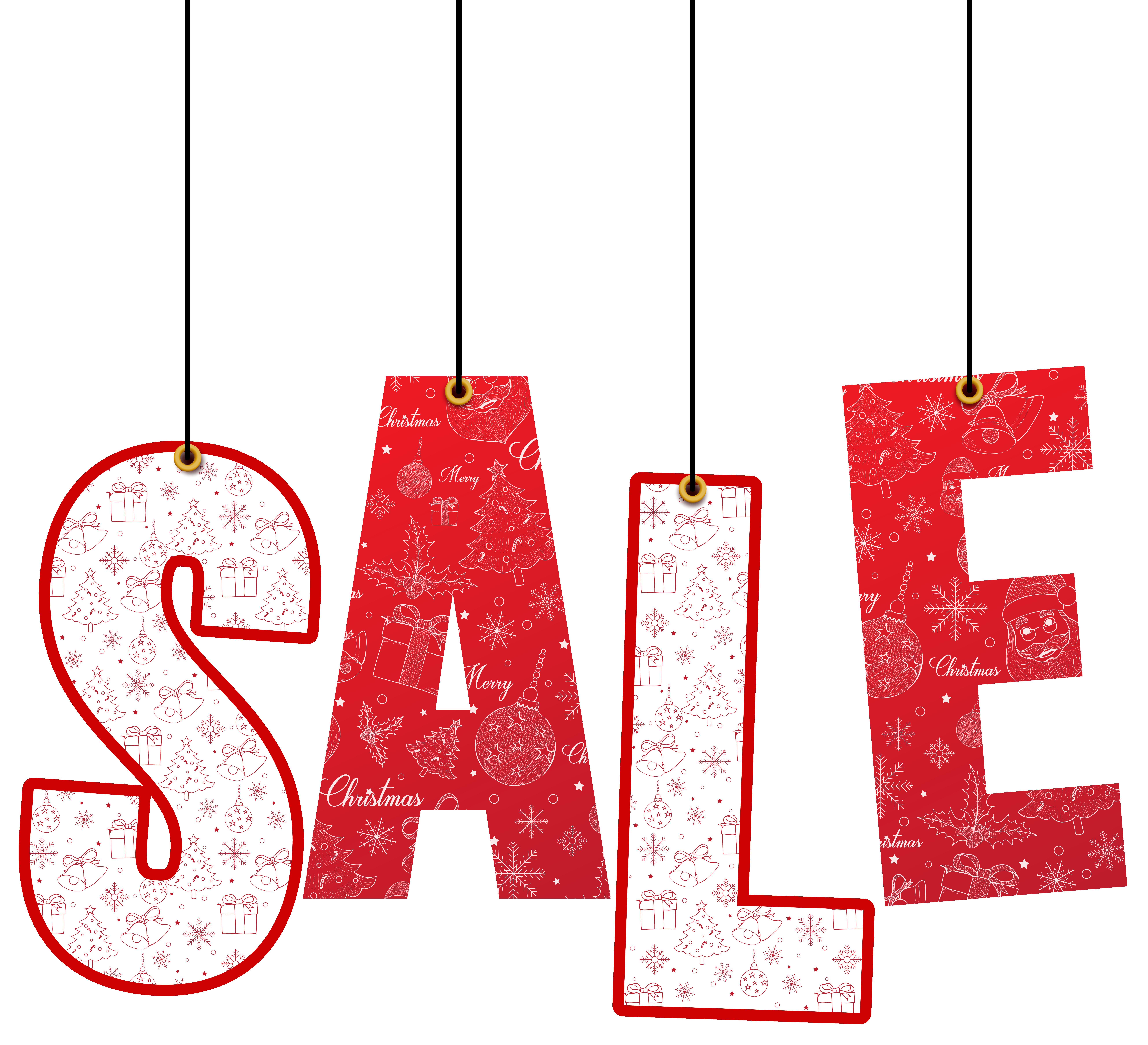 Christmas Hanging Sale Decoration PNG Clip Art Image.