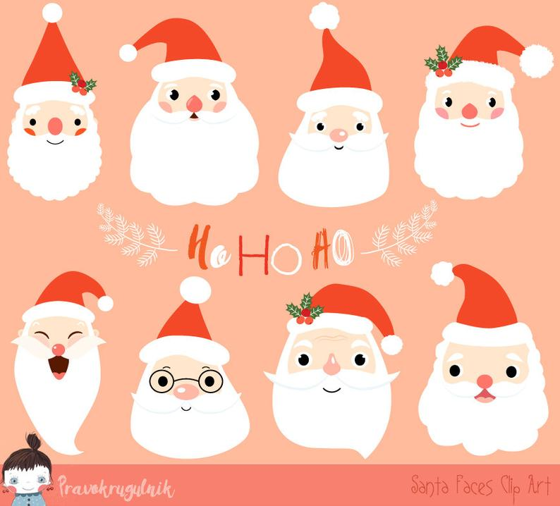 Cute Santa clipart, Christmas Santa clip art, Santa face clipart commercial  use, Winter kawaii Santa Claus head images cu.