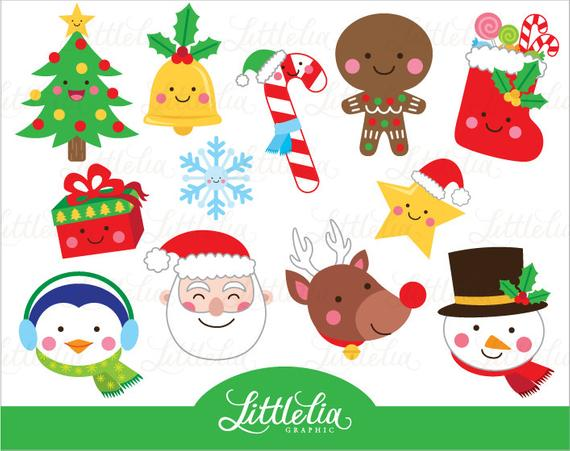 Christmas faces clipart.