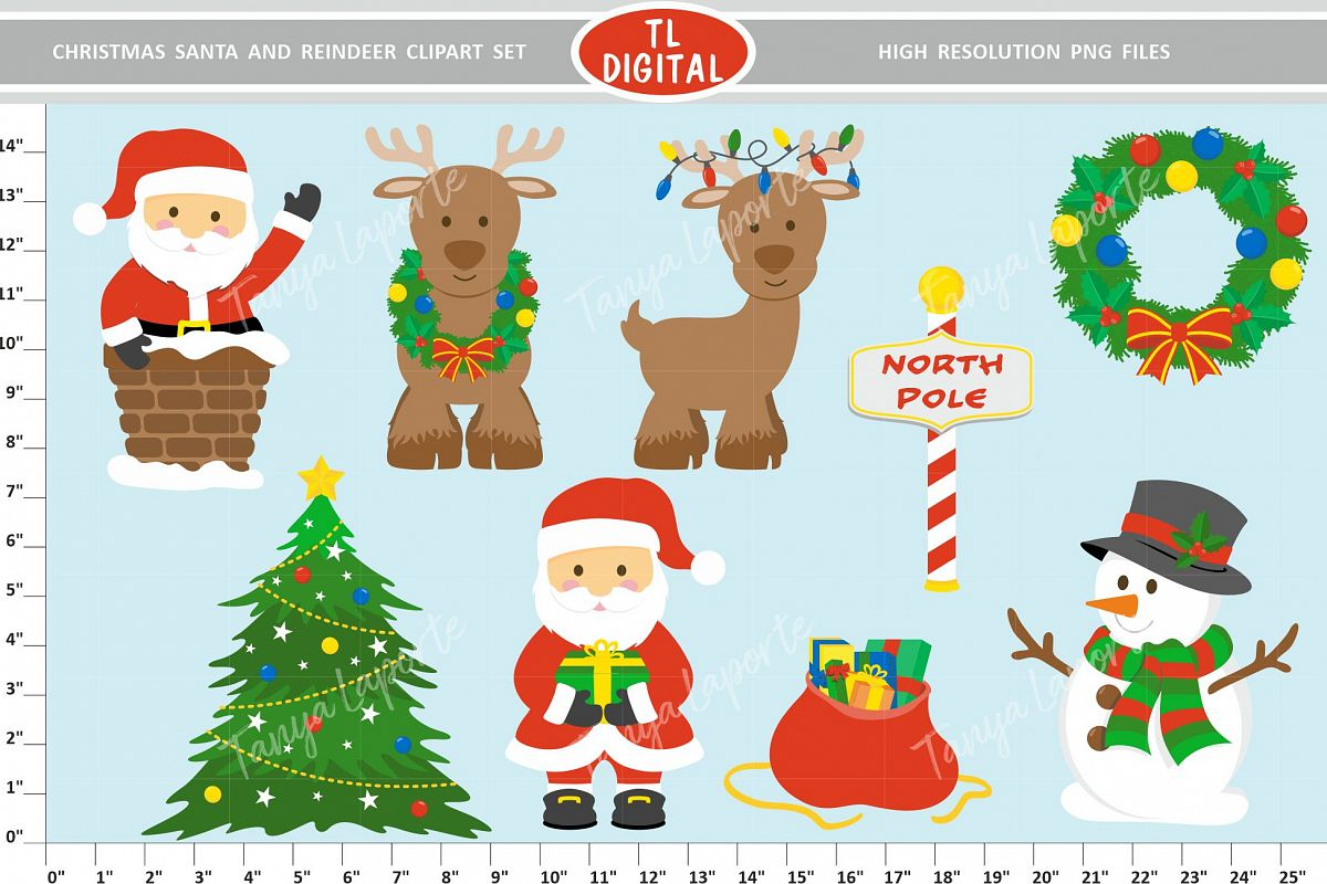 Christmas Santa and Reindeer Clipart Set.