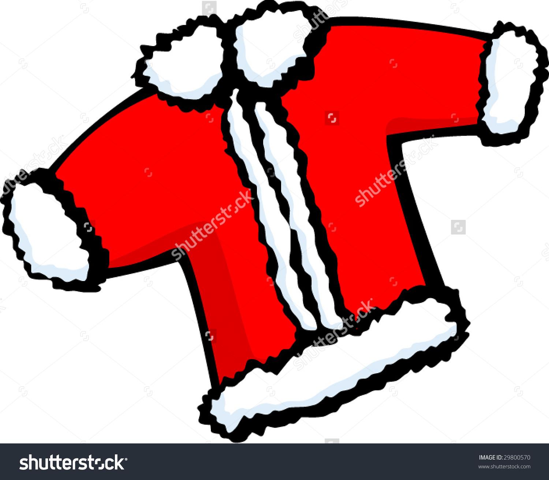 Santa Claus Christmas Coat Or Jacket Stock Vector Illustration.