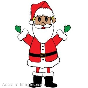 Clip Art of a Kid Dressed Up In A Santa Claus Suit.