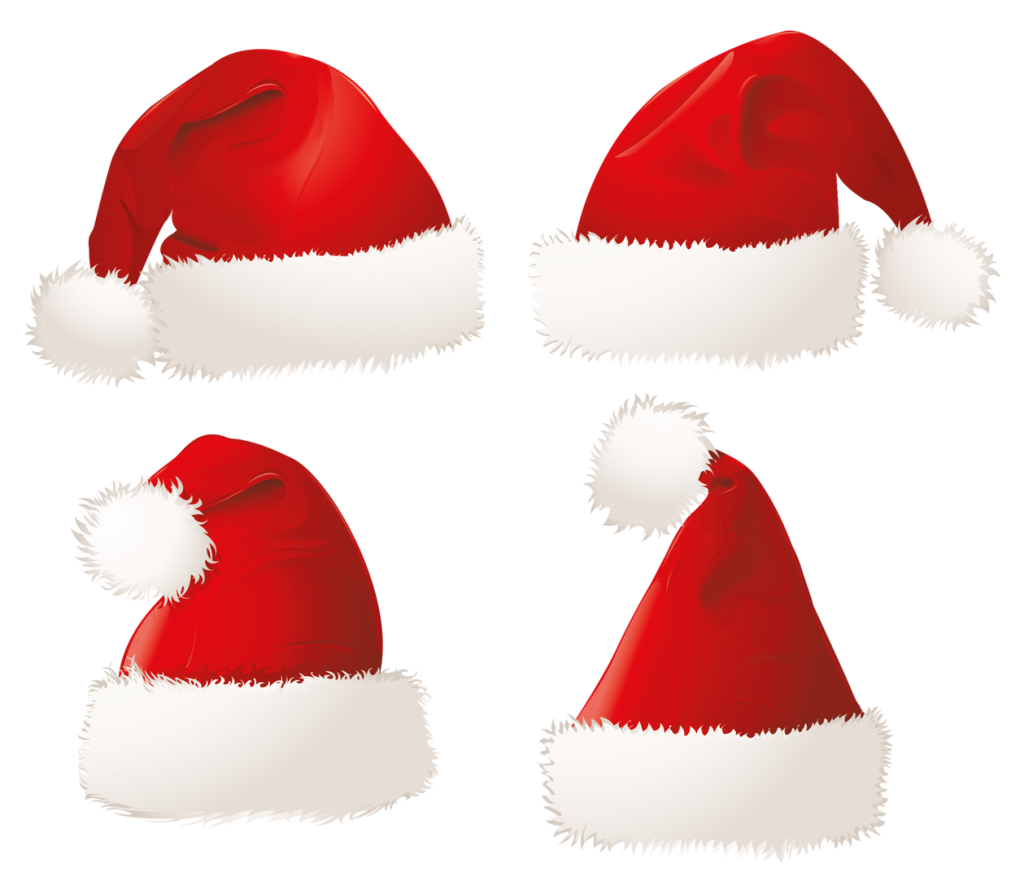 Xmas Santa Claus Hat Png Transparent Background.