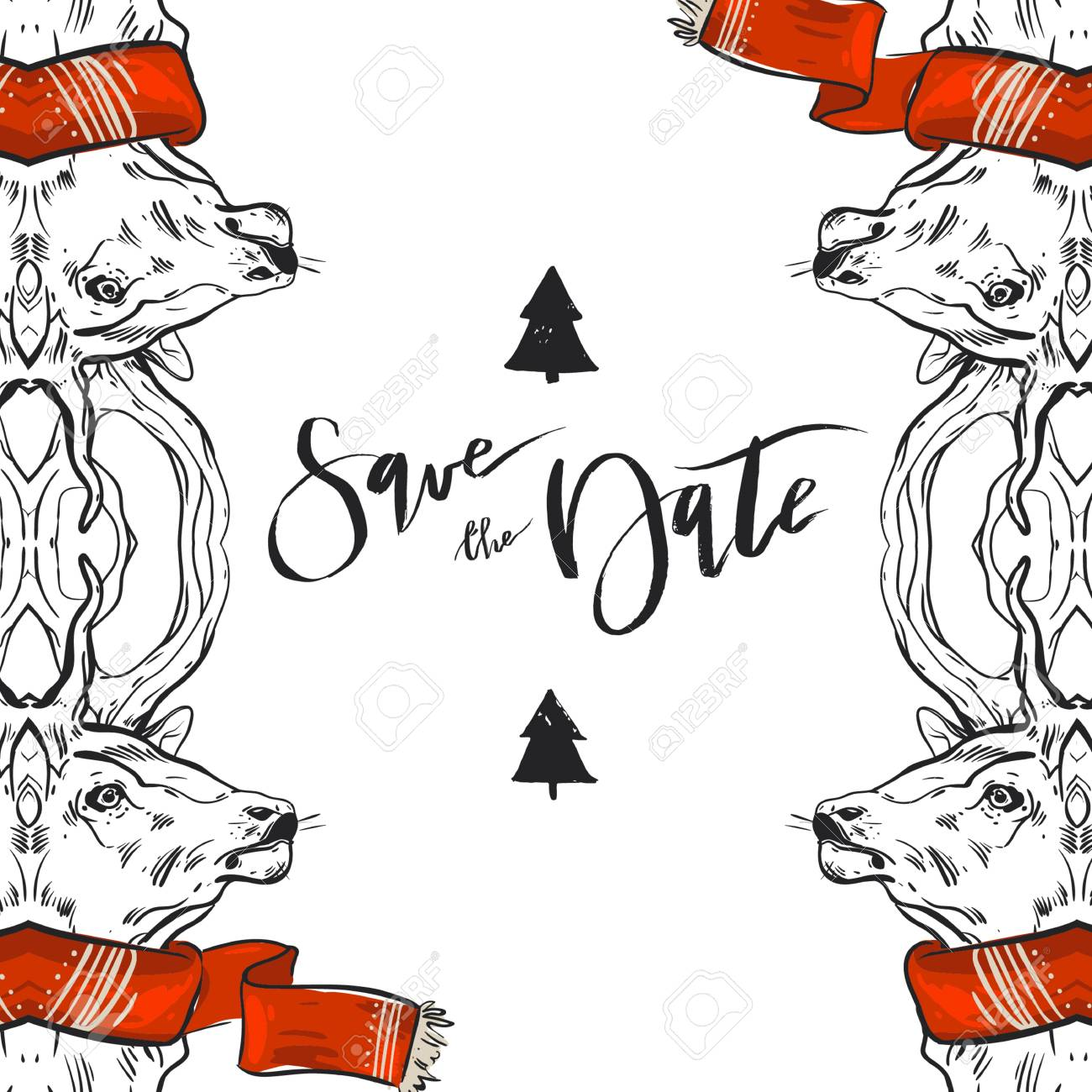 Hand drawn graphic Merry Christmas save the date greeting decoration...