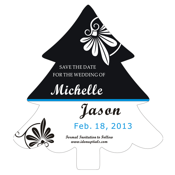 Christmas Tree Shape Save the Date Magnet in Black and White.