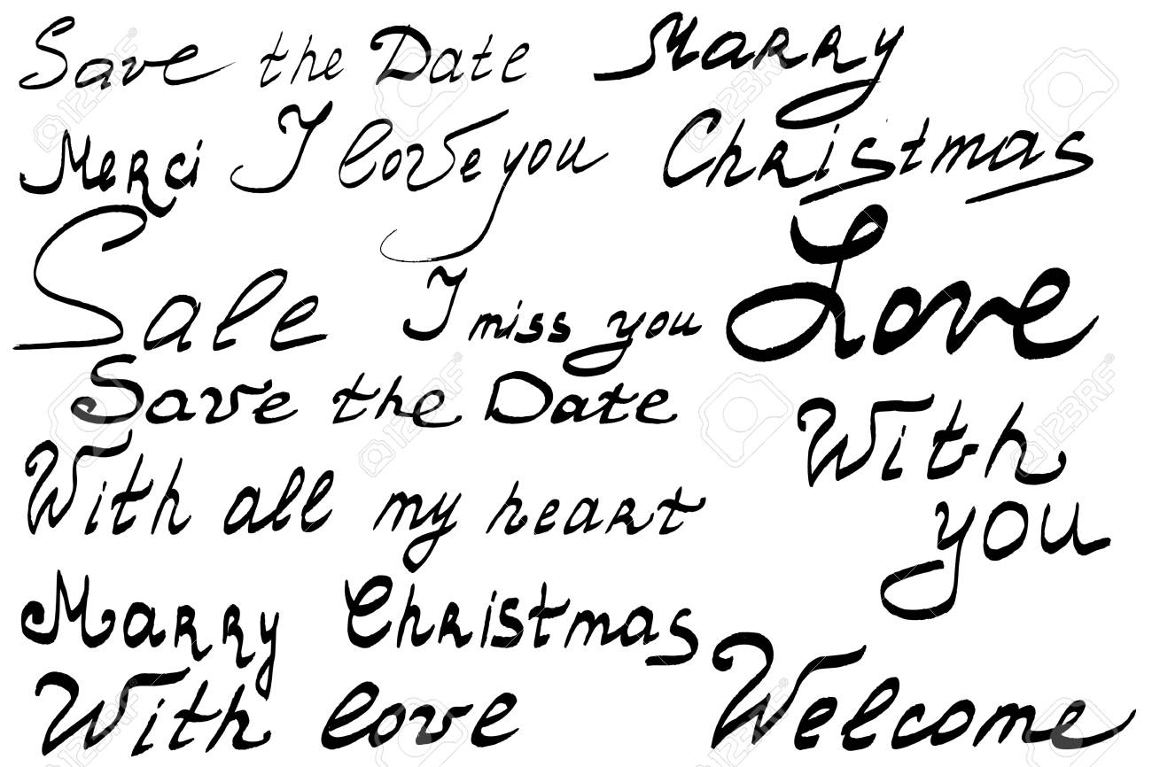 Hand lettering set. Save the date. Merry Christmas. I love you.