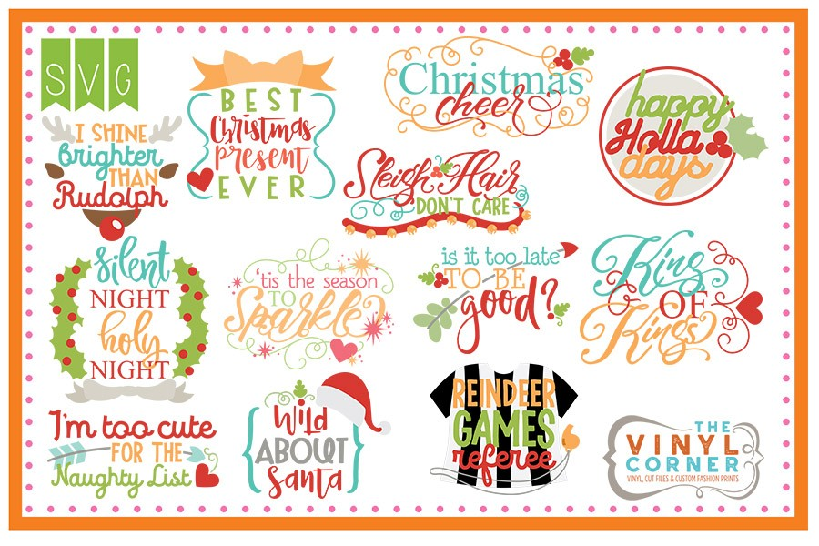 Applique Corner Christmas Sayings Cuttable Design Set cuttable files.