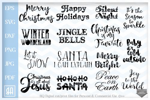 Christmas Quotes bundle svg, Christmas Sayings Bundle SVG.