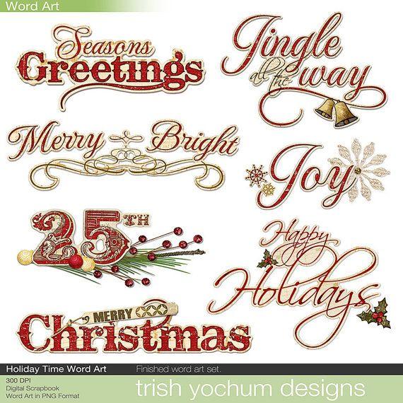 Christmas Digital Word Art Clipart.