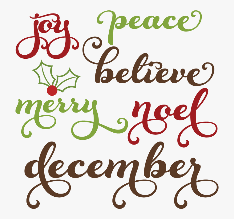 Christmas Words Svg Cutting Files Christmas Words Clipart.