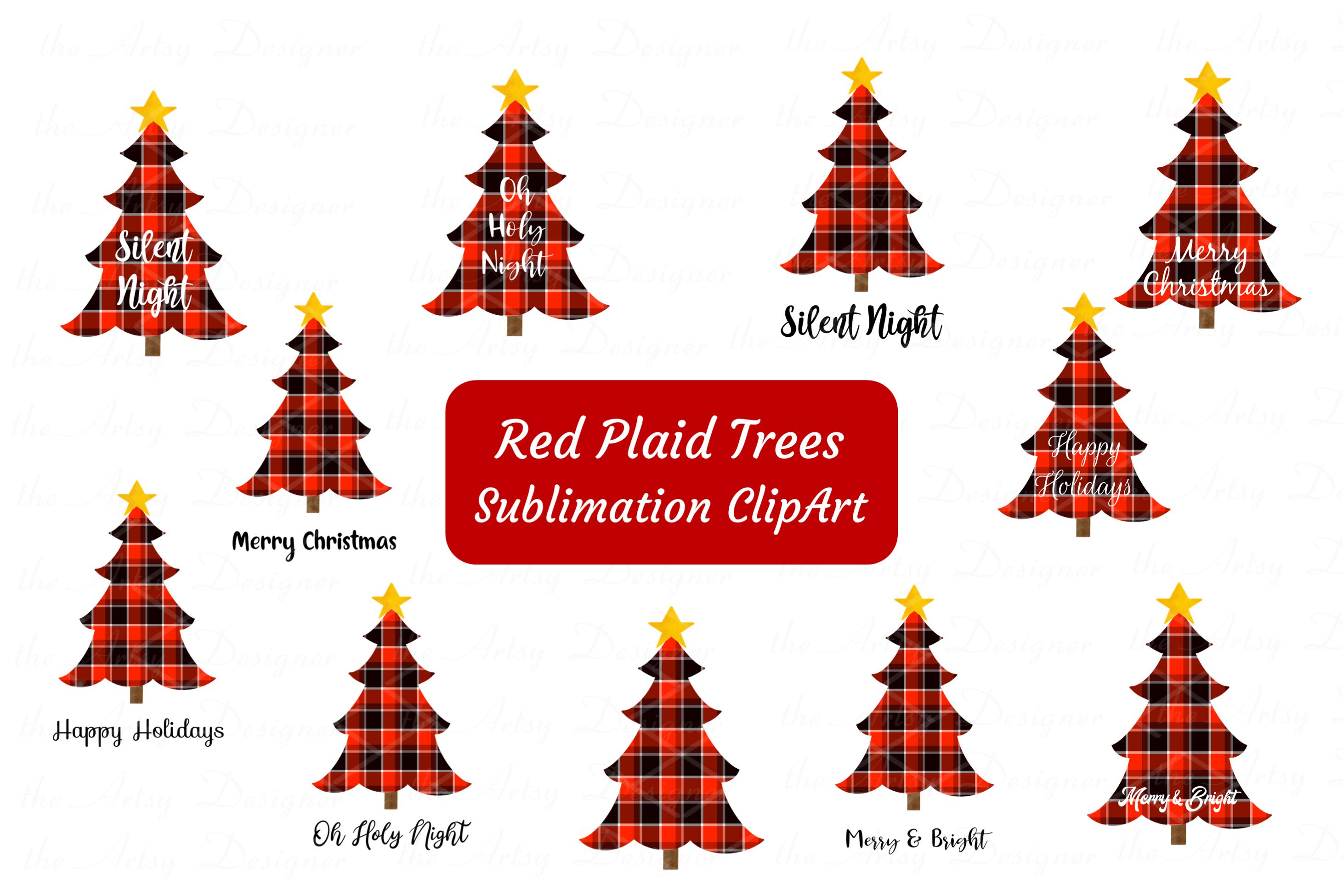 Red Buffalo Plaid Christmas Trees Sayings Sublimation Bundle.