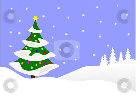 Christmas winter scene clipart.