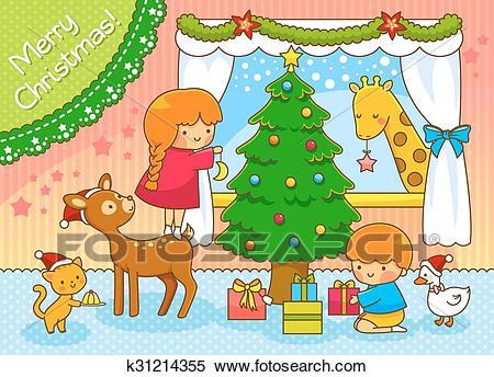 Cute Christmas scene Clipart.